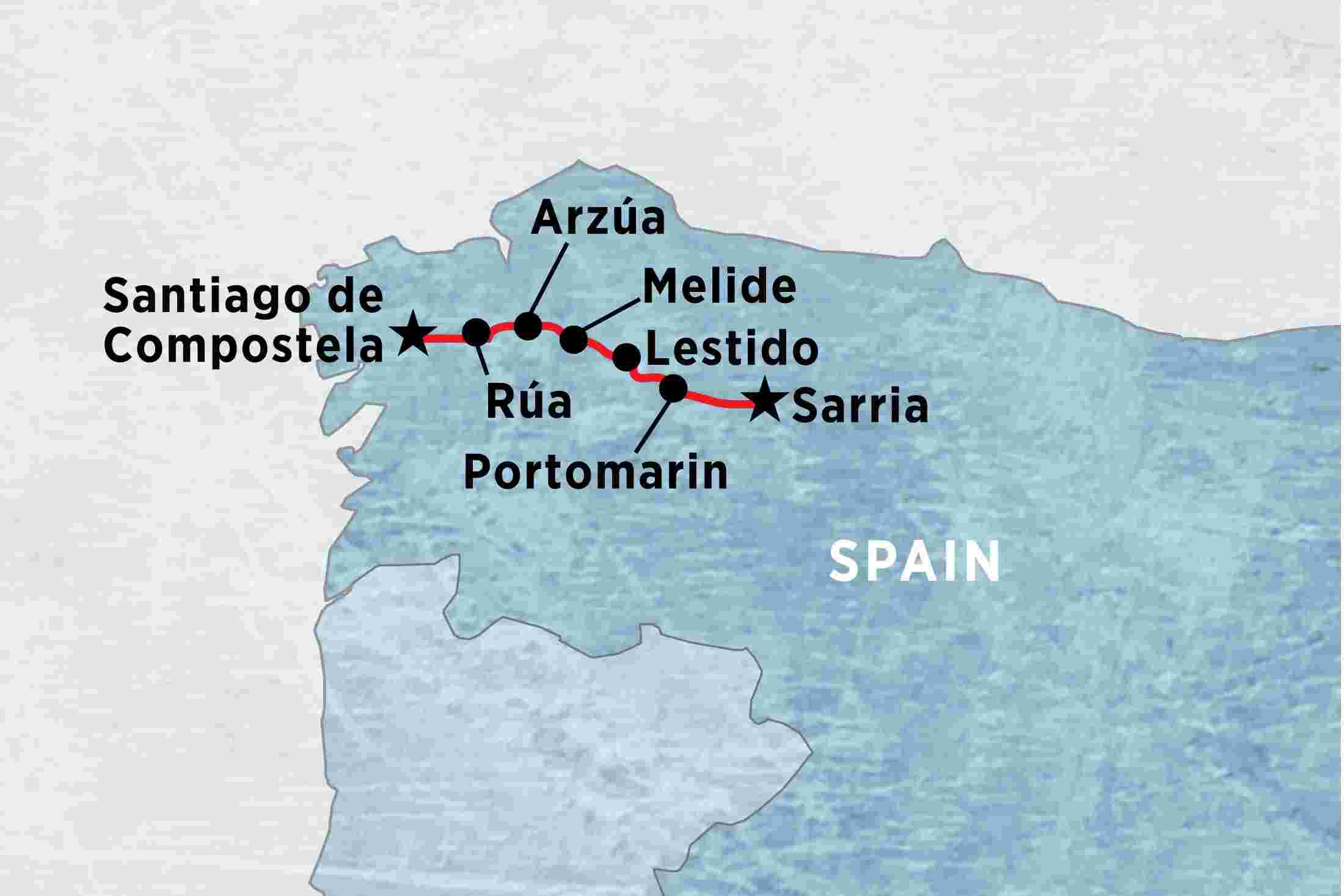 0896e6bcf61e Map of A Week on the Camino (self-guided) including Spain. Add to shortlist