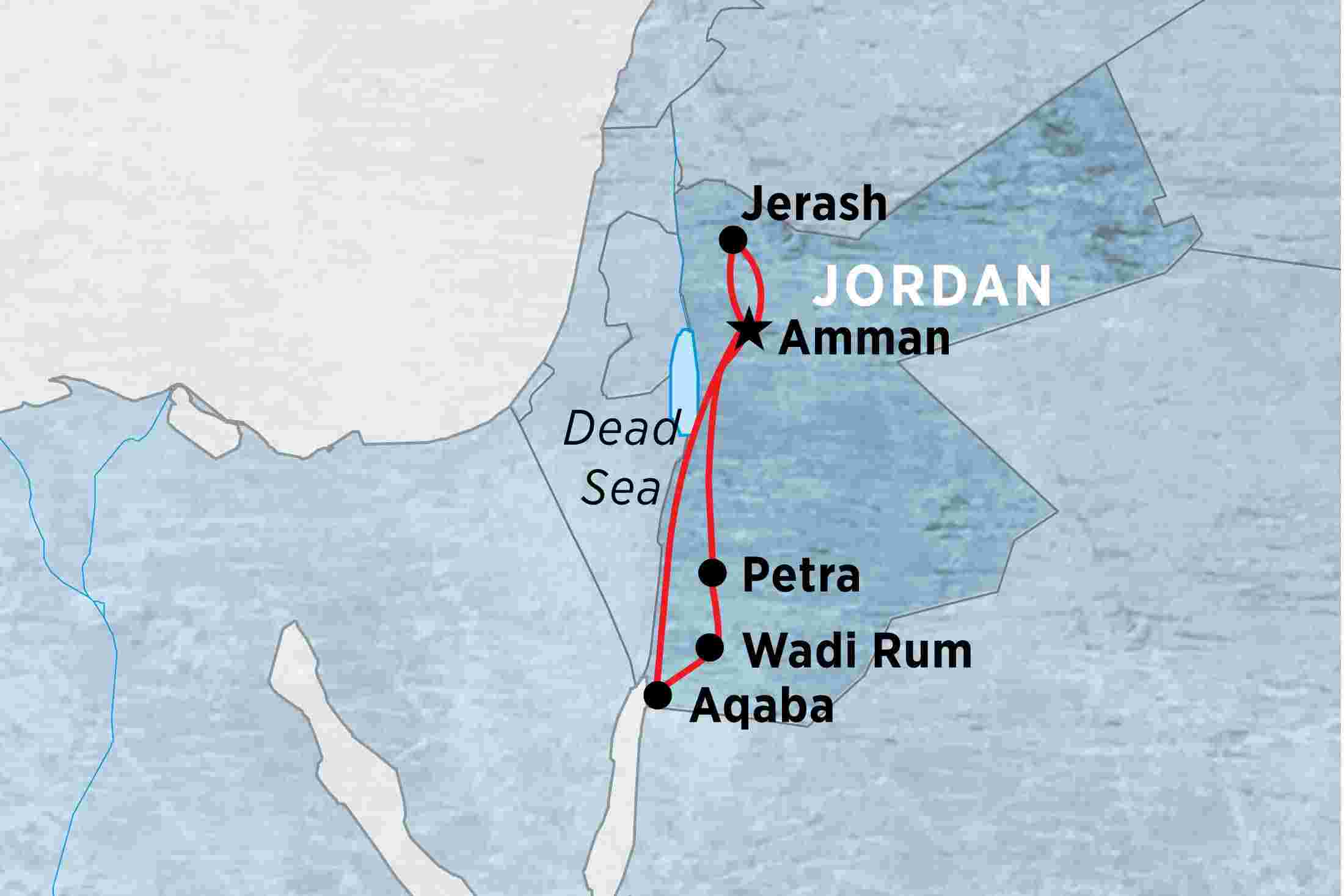 Jordan explorer peregrine adventures au map of jordan explorer including jordan gumiabroncs Images