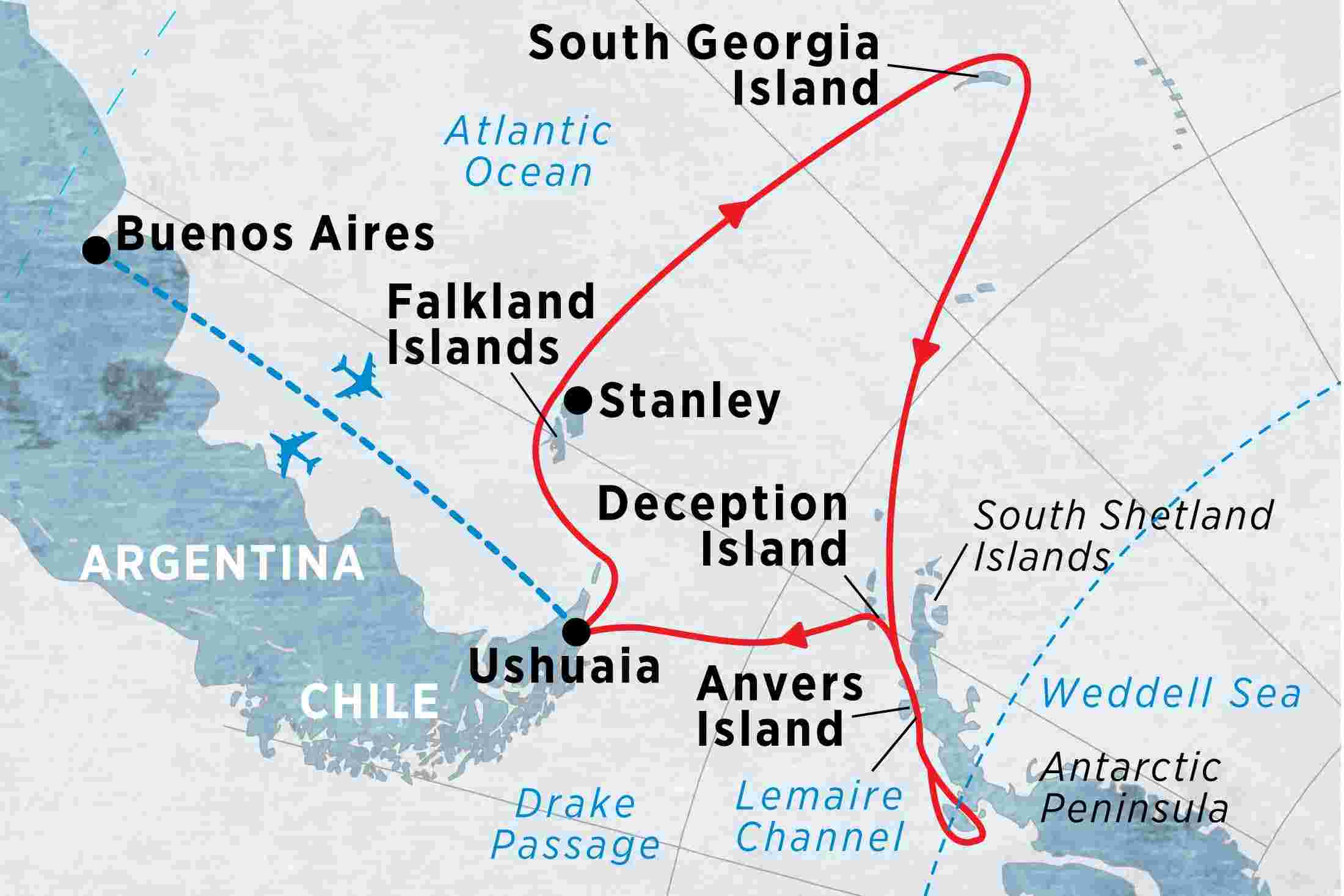 Crossing the Antarctic Circle via Falklands & South Georgia from ...